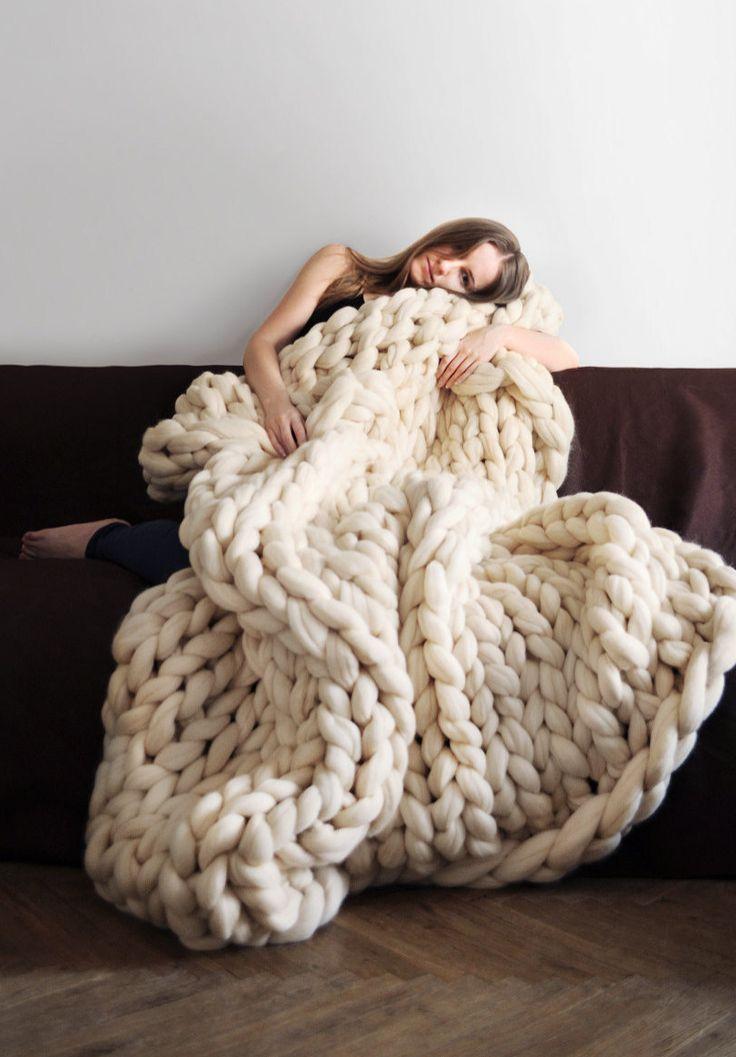 Giant Knit Merino Wool Blanket   Ohhio on Etsy