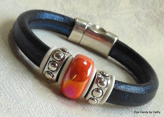 Licorice leather bracelet Regaliz leather by #EyeCandybyCathy
