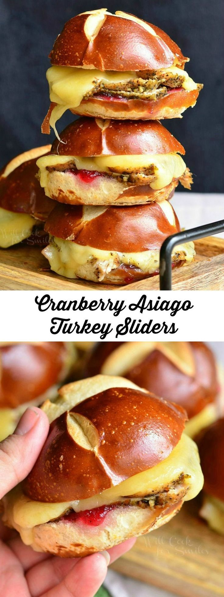 Cranberry Asiago Turkey Sliders. Tasty little sliders made with turkey breast, cranberry sauce and Asiago cheese. These sliders are served warm on pretzel slider buns.