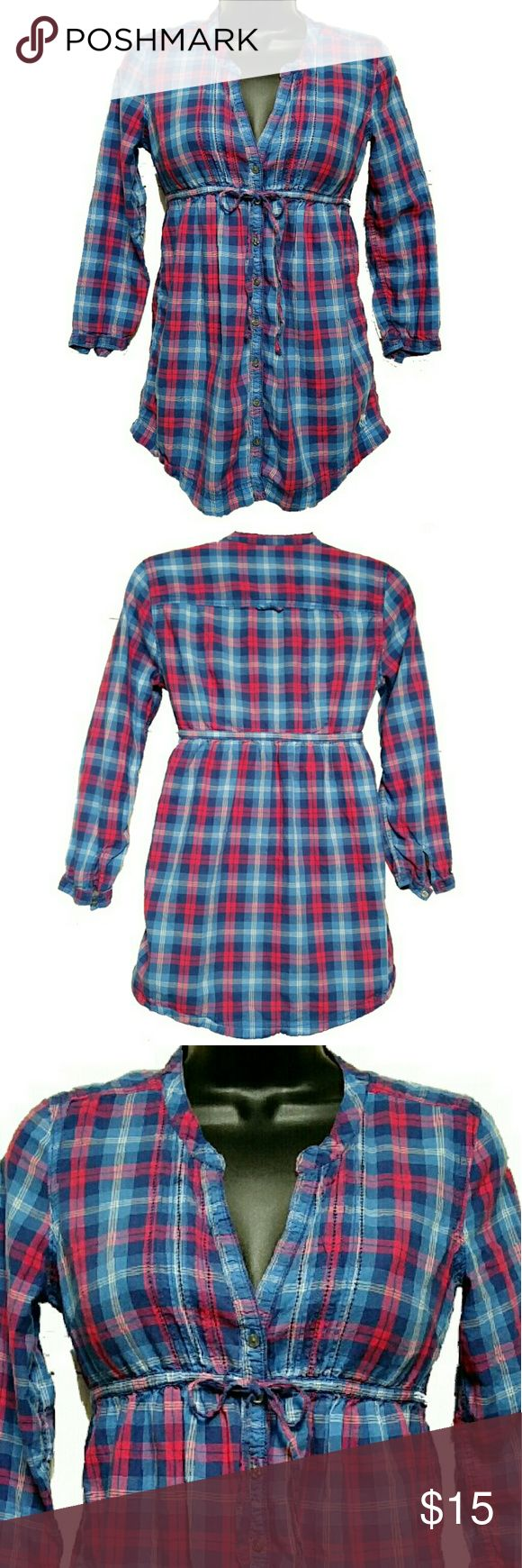 ABERCROMBIE Plaid Long Sleeve Tunic Blouse ABERCROMBIE plaid long sleeve blouse top. Blue, pink and white colors. Button down shirt. Empire waist with ties. Long sleeves with button cuffs. Abercrombie trademark logo embroidered on the shirt. Size X-small. Approximate measurements of the top are Shoulder 13 inches, Bust 36 inches, Length 28 inches, and Sleeve Length 18 inches. Excellent condition. Abercrombie & Fitch Tops