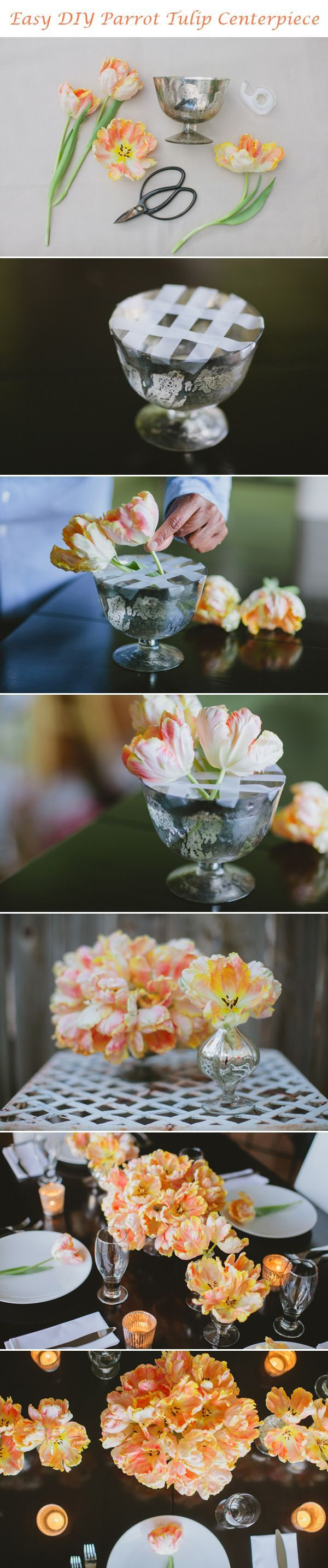 Parrot Tulip DIY Centerpiece - Flowers by: FiftyFlowers.com - Styled by: Jamie Medley at The Brides Cafe - Photos by: Tori of Marvelous Things Photography