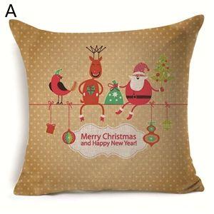 (EU Lager)Weihnachten Kissenbezüge Weihnachtsmann Weihnachtshirsch Schneemann Design