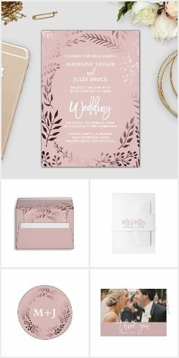 Elegant Rose Gold and Pink Wedding Collection Elegant rose gold and pink wedding invitation suite featuring a stunning faux rose gold foil leafy frame on a blush pink background and is paired with a dazzling cursive font. This metallic wedding collection includes all of the essentials, and more! Invitations, envelopes, stamps, labels, belly bands, five RSVP options, enclosure cards, save the date, thank you cards, bridal shower, and more.#romanticweddinginvitations #weddinginvitations…
