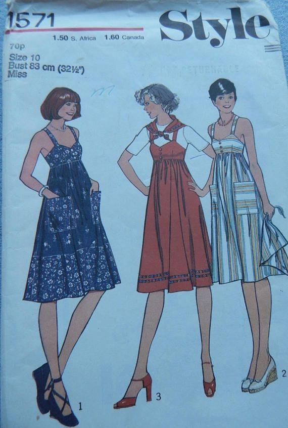 1970's vintage pattern Style 1571 Summer dress Size 10