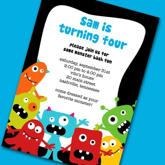 116 best images about Party Invitations – Monster Party Invites