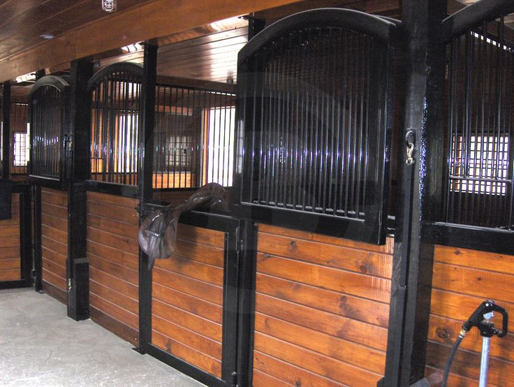 Split swing-out stall doors. I also like the black painted