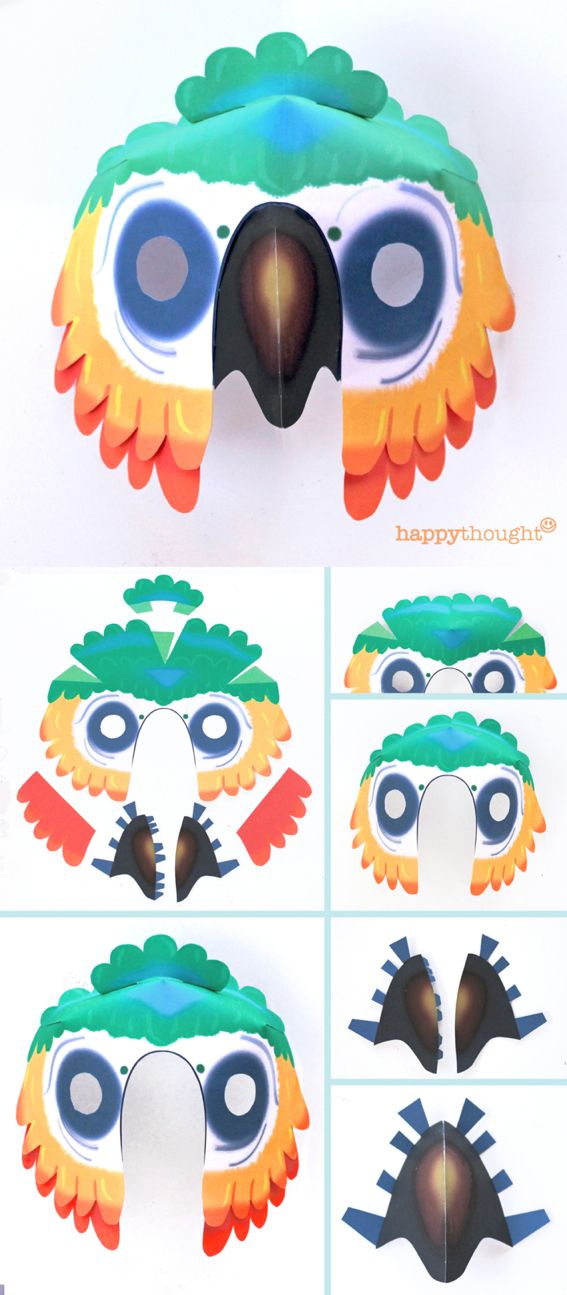 Easy printable parrot mask template at happythought.co.uk perfect for party costume, carnival, festivals and fun family crafts. Part of the brand new Go Wild printable animal mask templates!