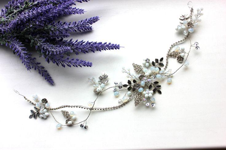 1 Opal Wedding wreath Opal Wreath  crystal crown  hair ornament  jewelry for the bride  hair wreath  wedding jewelry by Jewelryforhair on Etsy