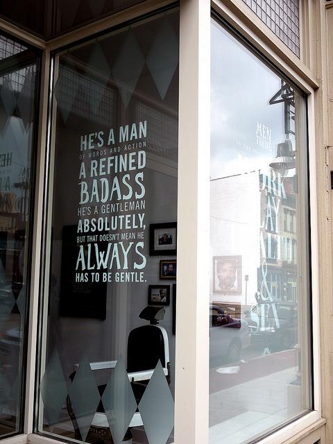 fake upscale barber shop. awesome.