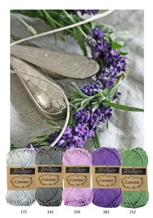Kleurinspiratie silver. Mooi kleurenpalet om mee te haken of te breien. Catona katoen van Scheepjeswol. Grijs - paars - lila en groen