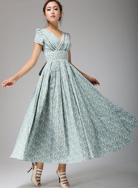 Vestido maxi, vestido Floral, azul huevo de pato, novia vestido, vestido de fiesta, vestido de partido, vestido de Dama de honor, vestido de lino, vestido de mujer, costumbre (665)