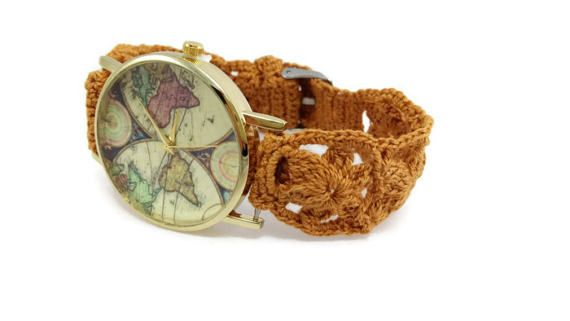Woman's watch  Beige crochet bracelet  world map watch Antique map watch by HarmonyHourWatches