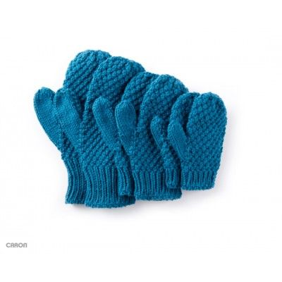 Free Easy Charity Mittens Knit Pattern. Great pattern to make for charity, or for entire family. Sizes 2/4 through adults. Made with Caron One Pound yarn, and one ball makes up to 10 pairs mittens.
