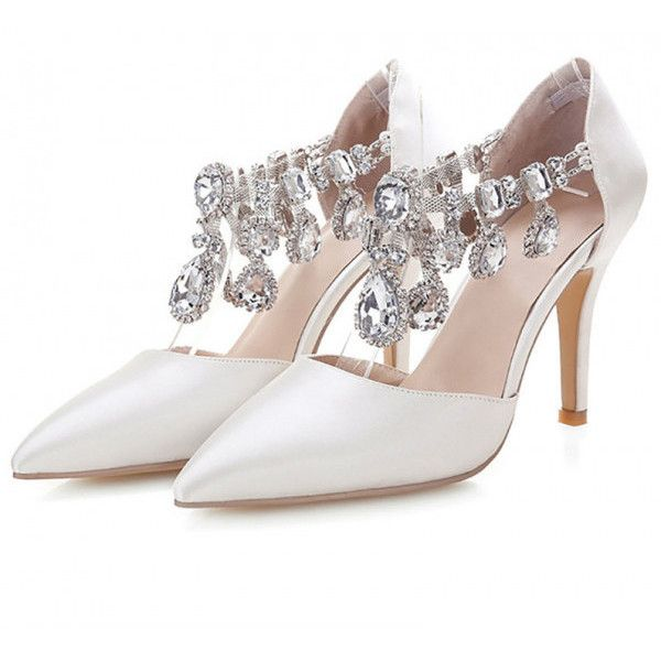 Lillian White Rhinestone Stiletto Heel Wedding Shoes 75 Liked On Polyvore Featuring