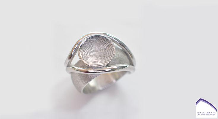 Zilveren rouwring met vingerafdruk