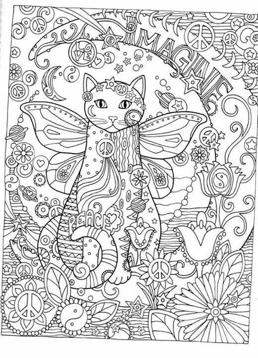 Coloring For Adults Adult Pages Books Line Art Cat Anti Stress Zentangle Kittens Paisley