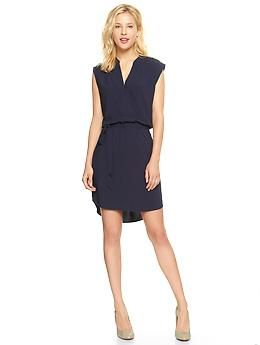 Its from the Gap but it's a great simple dress. Better without the belt & size down :) Split-neck sleeveless dress | Gap