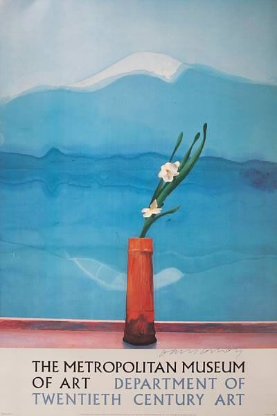 David Hockney painting, oil, flowers, Mount Fuji
