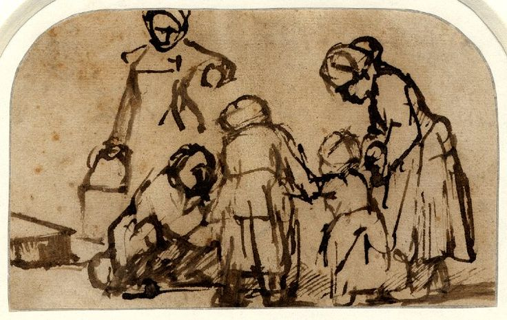 A child being taught to walk; two girls, seen from behind, supporting the child on either side, a figure seated on the ground at l encouraging the child, a woman standing behind with a pail. c.1656 Pen and brown ink, on buff prepared paper