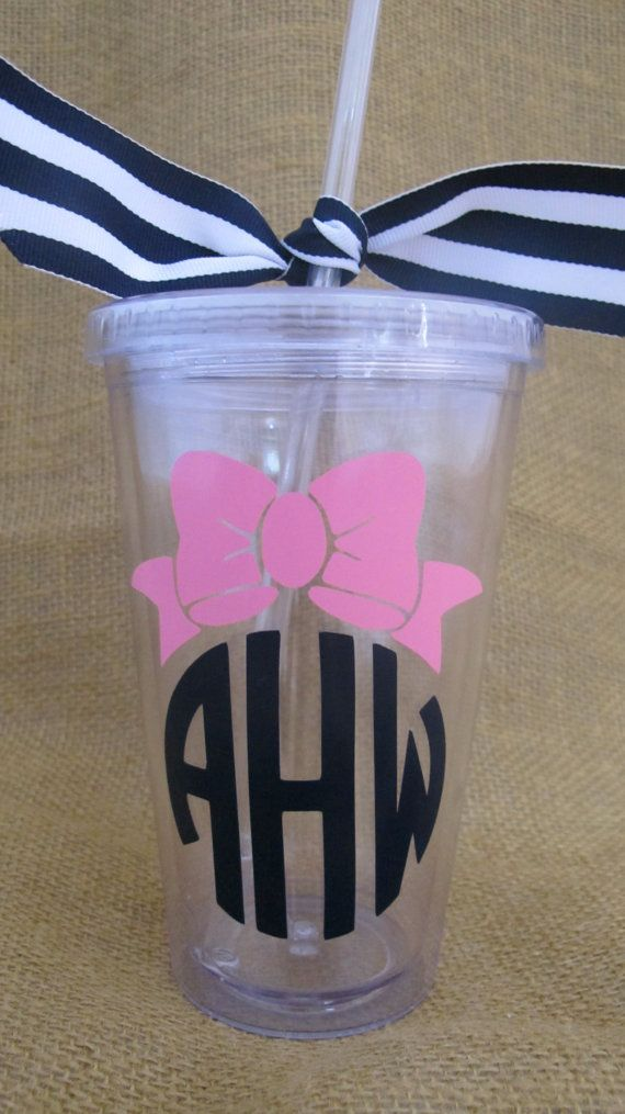 Bow Monogram Double Wall Insulated Tumbler by PolkaDotPeacockShop, $12.00