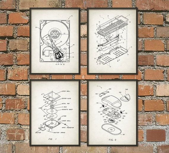 Computer Geek Wall Art Poster Set of 4 No.1 - Computer Room Home Decor Gift Idea Giclee Print  This poster is printed using high quality archival