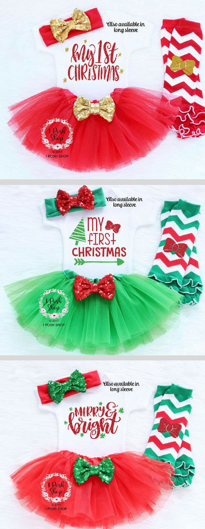 ADORABLE BABY GIRL CHRISTMAS OUTFITS! | Baby | Christmas | Tutu | Glitter | My First Christmas | Baby Girl #affiliatelink #baby #christmas