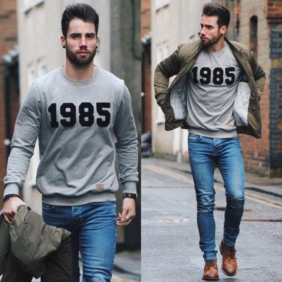 Un look casual avec un pull gris et un jeans #look #men #tenue #homme #mode #fashion #fashionformen