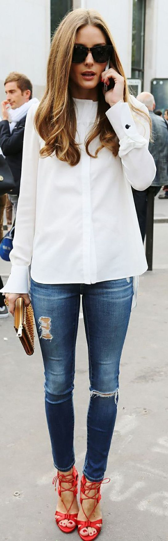 White Chic Taylor Button Down by Stylista