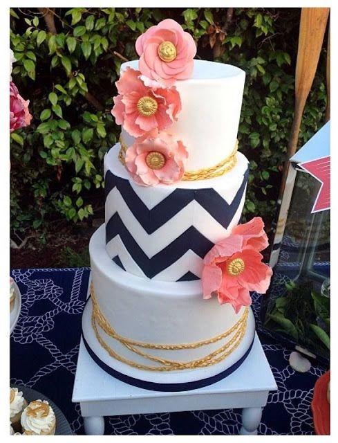 Wedding Cake Ideas. chevron wedding cake. coral and navy wedding cake.