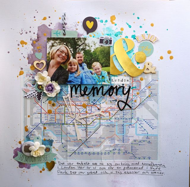Sara Kronqvist - Saras pysselblogg: London memory | Travel themed scrapbook layout using a subway map on the background