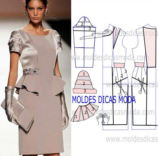 Observe e analise correctamente o desenho do molde vestido cerimonia para que possa fazer a leitura da transformação de forma perfeita e sem erros.