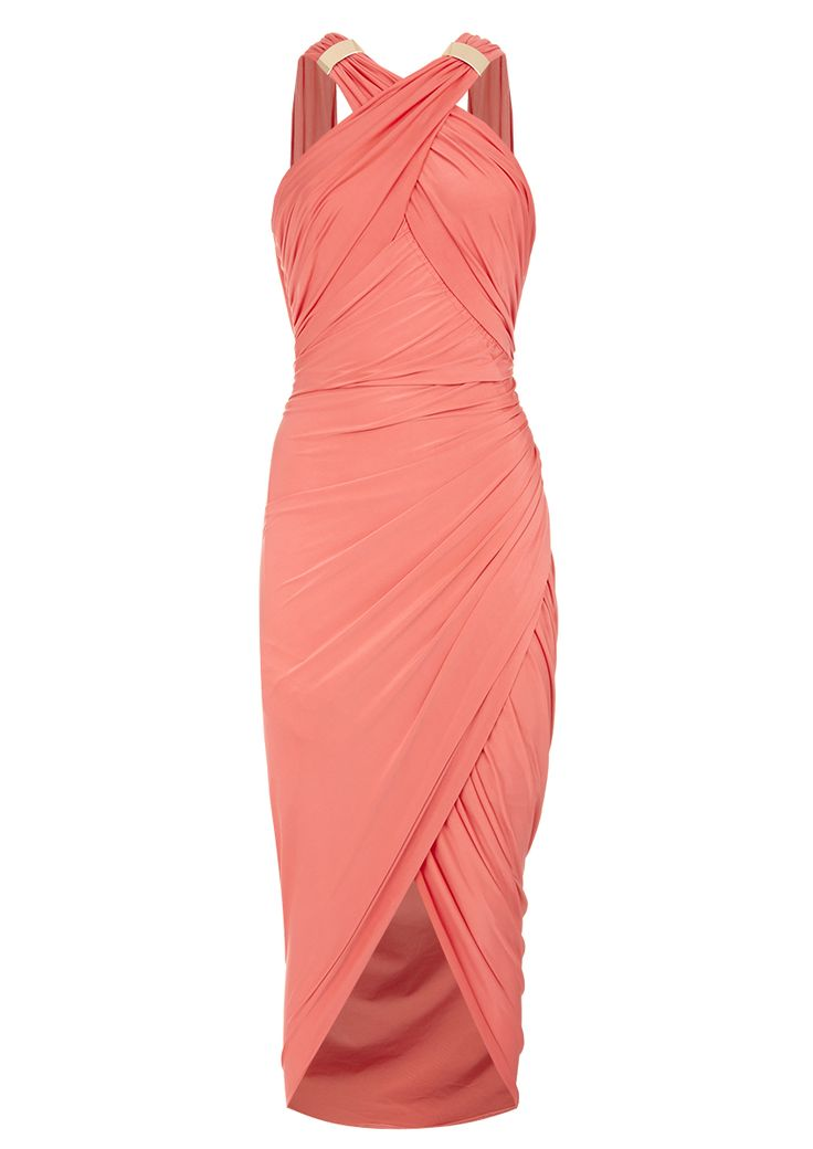 beautiful coral wrap dress perfect for an august wedding