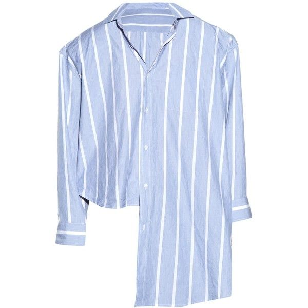 Vetements Oversized uneven-hem striped shirt ($960) ❤ liked on Polyvore featuring tops, shirts, blouses, vetements, blue white, blue and white striped top, button top, oversized striped shirt, boxy tops and boxy shirt