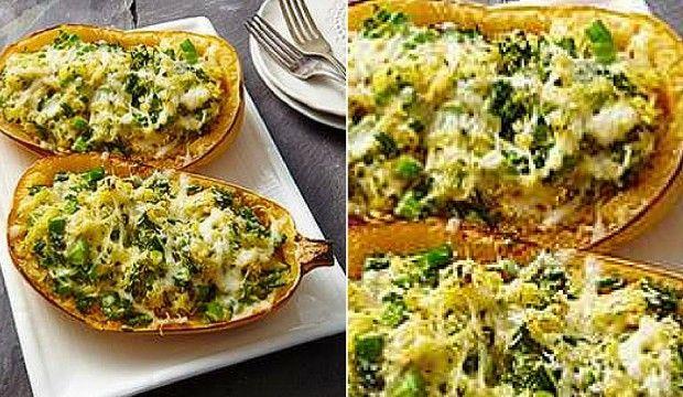 Dýně zapékaná s brokolicí, česnekem a sýrem
