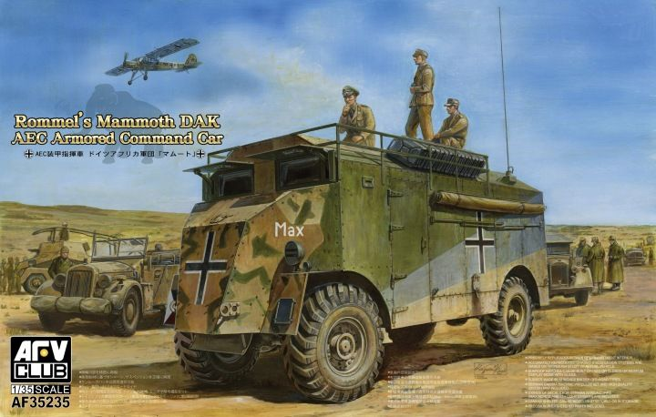 "AEC Armored Command Car Dorchester ""Rommel´s Mammoth DAK"". AFV Club, 1/35, rebox 2016 (ex AFV Club 2012 No.AF35227, updated/new parts), No.AF35235. Price: Future."