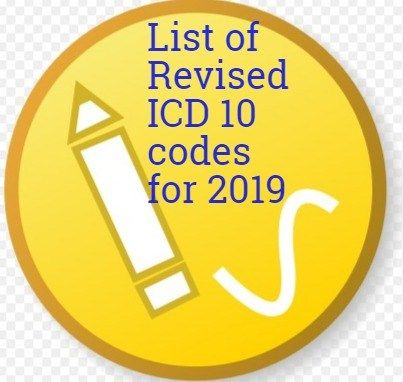 List Of Revised ICD 10 Code For 2019 Coding Medical