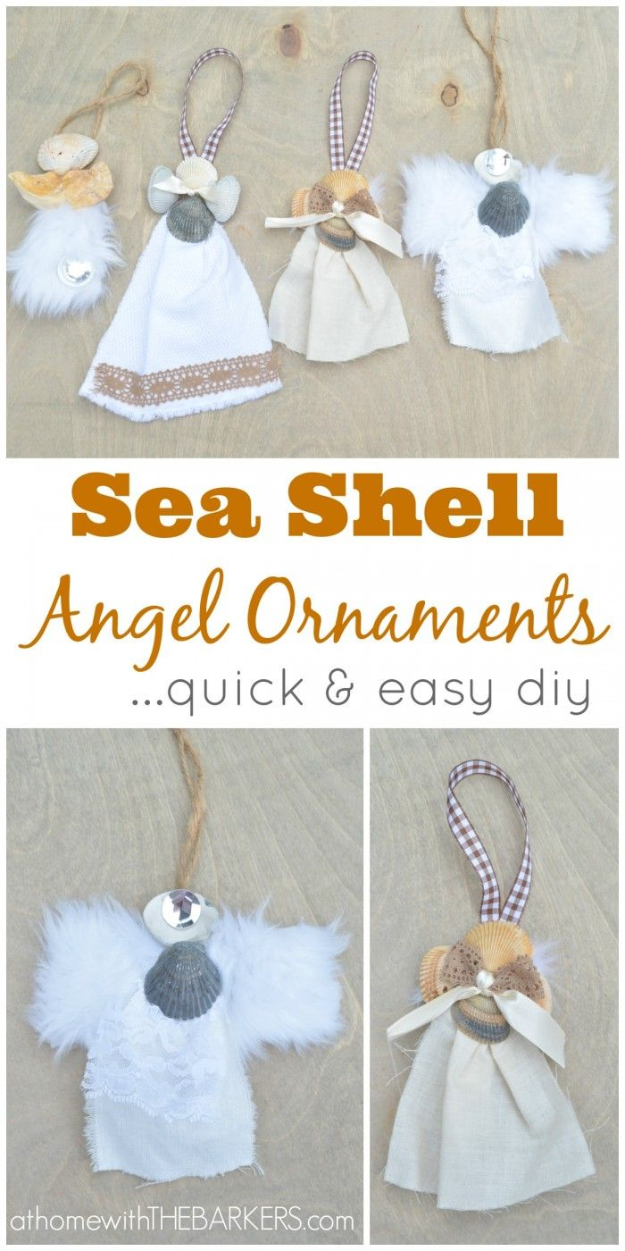 DIY Sea Shell Angel Ornaments from shells collected at the beach during the summer.