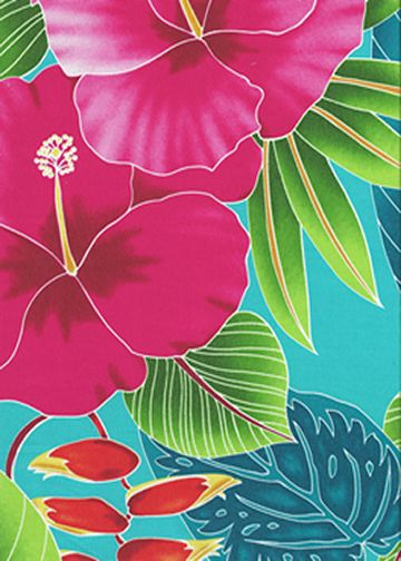 80ho' oni - Vintage Style Hawaiian Large scale, colorful hibiscus, heliconia, and various tropical ferns and leaves, on a cotton poplin apparel fabric.