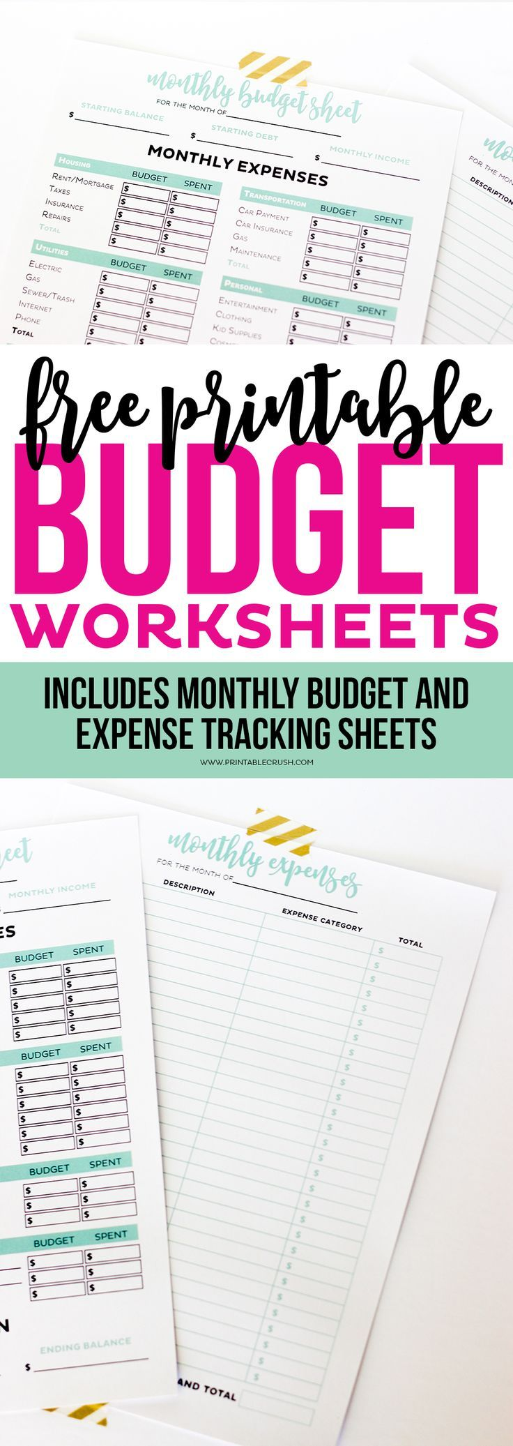 Get your finances in order with these Simple Printable Budget worksheets! Includes monthly budget and expense sheets so you can easily keep track of your money!