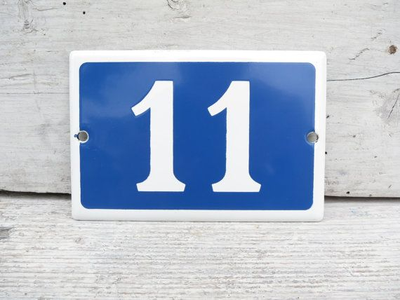 French Old Stock House Number 11 Vitreous Enamel by BYEGONETIMES