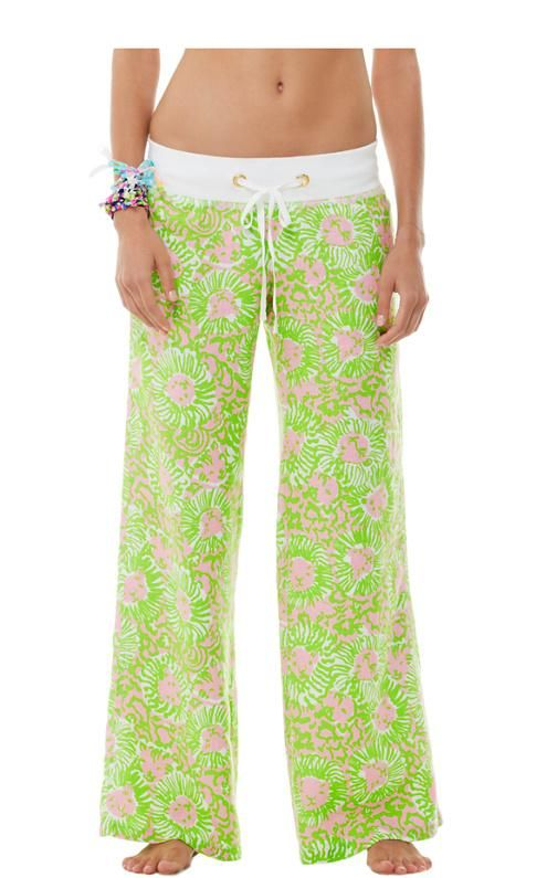 Lilly Pulitzer Linen Beach Pant in Cabana Pink Sunnyside