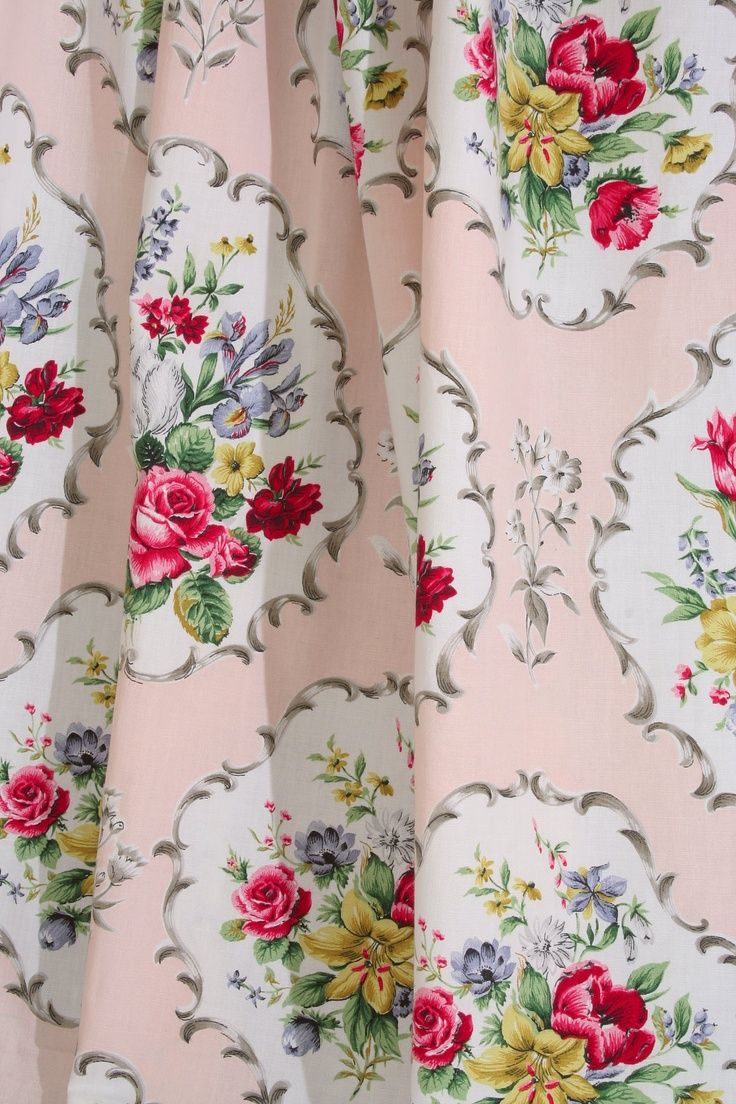Beautiful vintage rose floral shower curtain by yourperfecthome - Vintage Home Pretty 1940s English Floral Fabric Www Vintage Home