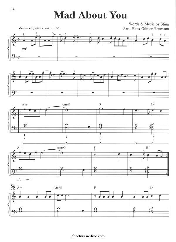 Mad About You Sheet Music Sting With Images Sheet Music Easy