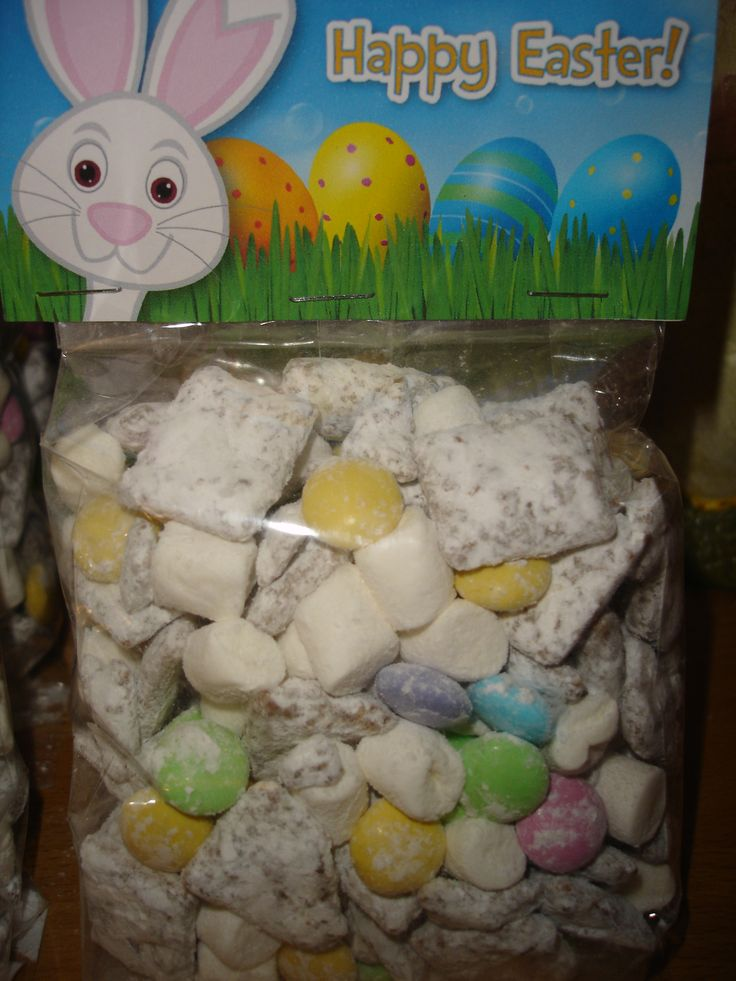 Easter Muddy Buddies with m&m's and Marshmallow Bunny Tails