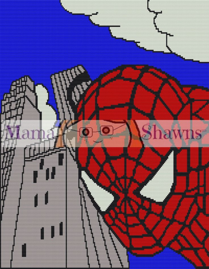 Spider Man Inspired Graphghan, Written Pattern, Word Chart, Crochet Pattern, Fan Art, Crochet Bedding, PDF Download, Superhero, Peter Parker by MamaShawns on Etsy Use Coupon Code: PINTEREST for 10% off any order!