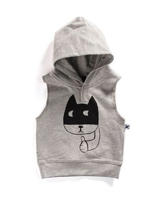 Buy Minti Baby Sleeveless Hood Cat Grey Marle
