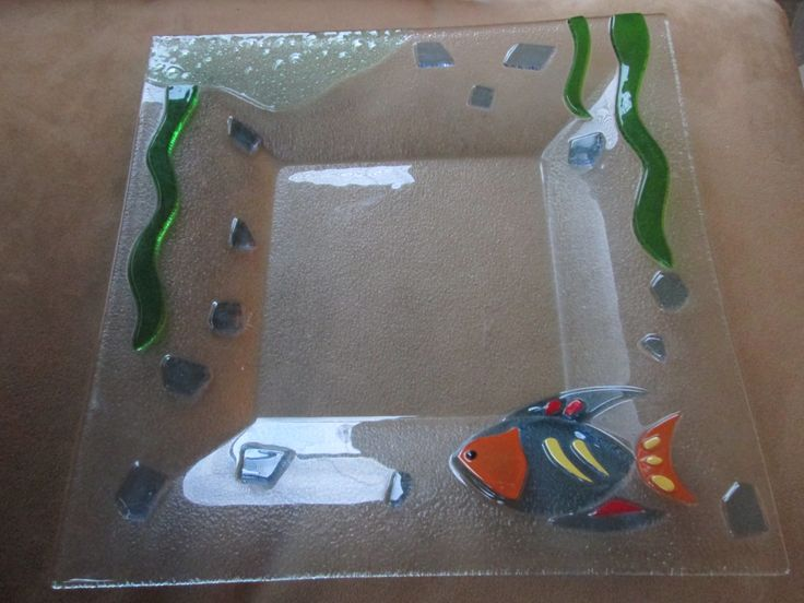 glass tray 1980s // gold fish glass tray// under the sea // ocean // glass bowl // glass dish // miami vice // mtv // tropical glass tray by truthorwear on Etsy