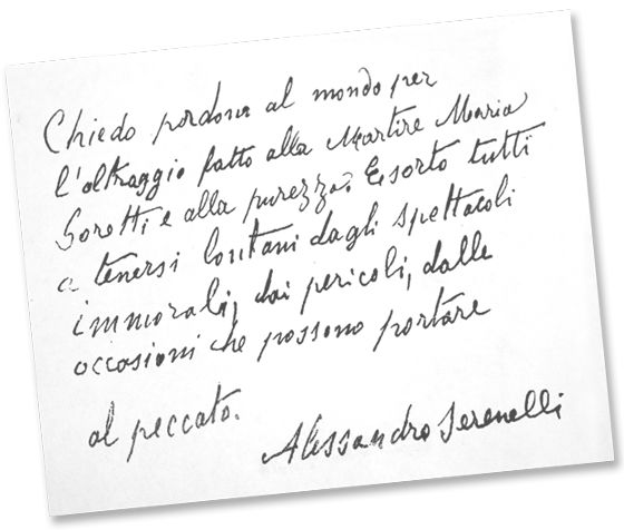 Handwritten note from Alessandro Serenelli about his conversion in prison