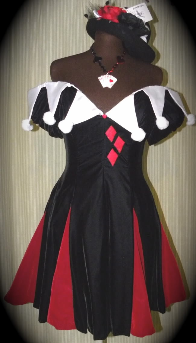 Harley Quinn dress I refashioned from an upcycled velvet prom dress. I added the red velvet godets, the satin collar, and diamond accents. Pics of matching accessories on my blog.