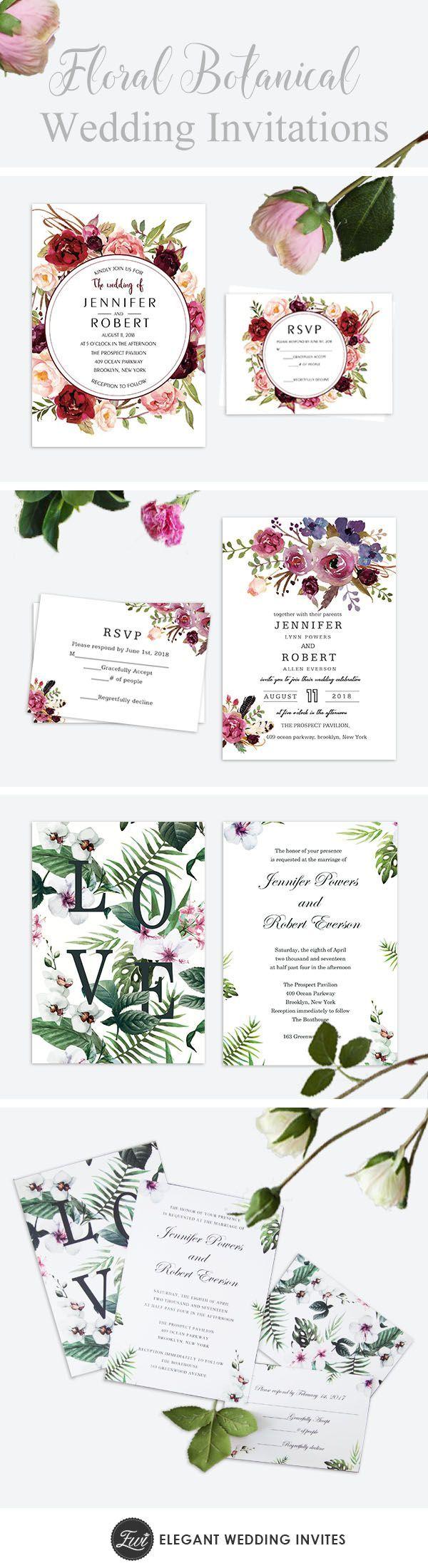 Cheap floral greenery botanical wedding invitations